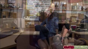 Desperate big ass teen Kitty receives the offer and fucked in the office