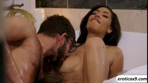 Ebony babe Shay Evans fills in her lust for hard cock