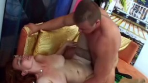 Amazing redhead Woman big tits sucks cock sex movie