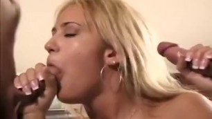 Trina Michaels Busty girl fucking two men in bed
