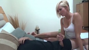 Incredible Blonde girl blushes his hands and sit on him