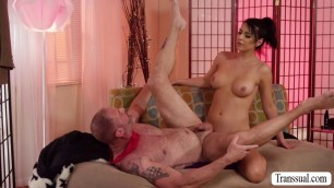 Damn gorgeous tranny Chanel Santini bangs her stepbros ass