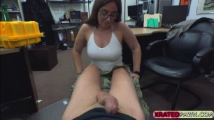 Busty milf Charlie Harper bangs the pawndude in the office