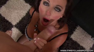 Ciara Blue Cougar Facial Mature brunette skillfully sucks cock
