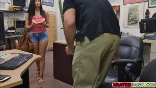 Babe Alexis Deen shows her big tits and perfect ass in the office