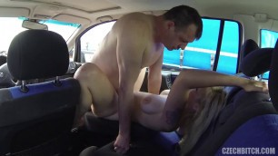 Czech Prostitute Blonde sucks cock and fucks in the car 33