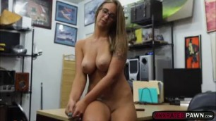 Pretty Layla London gets fucked in the office for cash