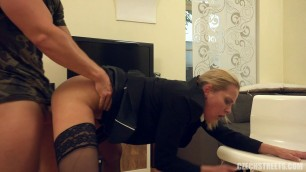 CzechStreets Blonde in black underwear pushes cowards to get cock 99