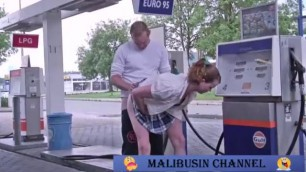 Couple fucking at a gas station Outdoor Couple Amateur