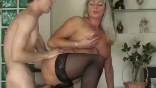 Hot Blonde russian saggy tits mommy fucks junior guy stockings