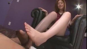 Horny Japanese girl Ai Haneda in Fabulous Stockings Footjob Sex video