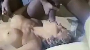 Busty MILF takes a few dicks Interracial gangbang
