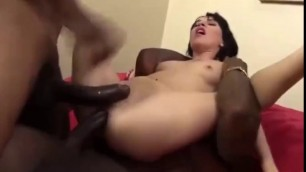 Two big black dicks in her holes Hot double penetration with 2 bbc