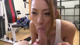 Beautiful asian college girl gets fucked at the gym