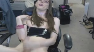 Pale Skin Tranny Jerks and Cum on her Belly