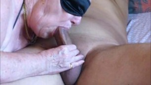Granny long blowjob She skillfully sucks his little dick