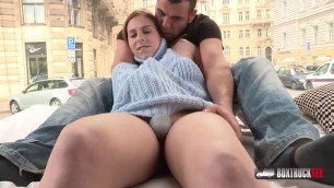 BoxTruckSex NICE PUSSY SHAVED CUTE GIRL IN PUBLIC BANG
