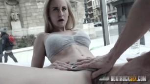 Tattooed Blonde Helena Valentine gets a load over her ass BoxTruckSex