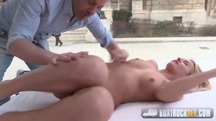 BoxTruckSex Tattooed Blonde Aisha Shows off her Blowjob Skills