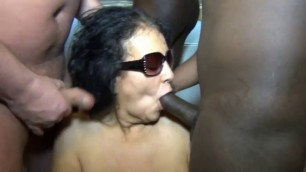 Big tits mature Brunette having an interracial bukkake