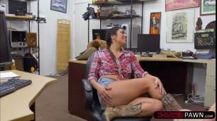 Brunette Lexi Banderas fucks Shawns cock as payment