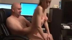 Dad fuck NOT his daughter slim girl is intensely sucks cock
