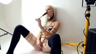 TheLifeErotic Adelina White On Set screwdriver in her pussy