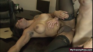Boss TS Morena gets analed by guys cock