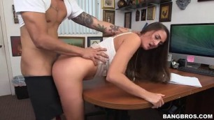 Tiffany Wells brunette bending on the table and fucking