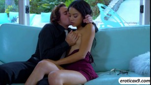 Maya Bijou in steamy sex session in the couch