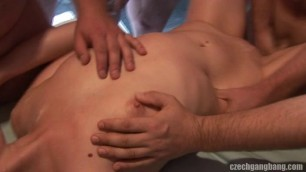 CzechGangBang Nude blonde fucks in the toilet and in the bathroom