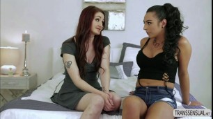 T-babe Chanel Santini and Violet Monroe hot missionary sex