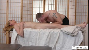 Surprising TS Mandy bangs hard her masseurs tight butt