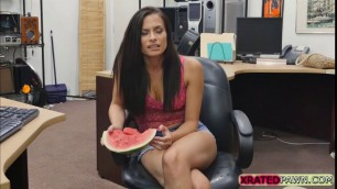 Naughty Alexis Deen rides Shawns big dick in the office