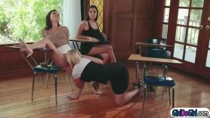 Stepteen watches stepmom licking teacher