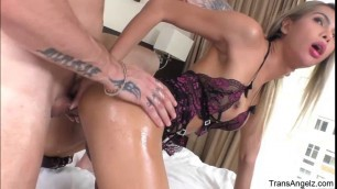 Trans darling Vivi gets ass destroyed by her boyfriends cock