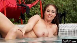 After she displays her goods Eva Notty will masturbate in the pool
