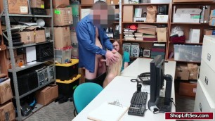 Hot shoplifter fucked in front of her bf