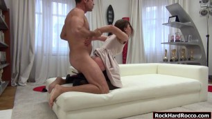 Petite brunette gets analed by big cock