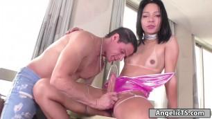 Big cock Brazilian tgirl sucked and anal