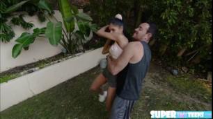 Slender teen Katya Rodriguez takes two cock in one shot