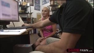 Blonde slut Sadie Leigh kneels to suck Shawns dick
