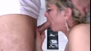 Hot Blonde Badass granny fucks her grandson