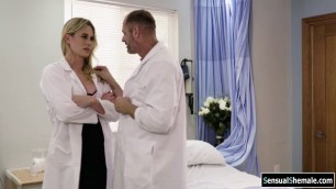Busty TS blonde analed by doctors cock