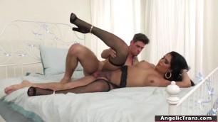 Hot TS latina bareback fuck by big cock