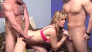 Desi Dalton - Sexy Tall Blonde Cougar's 3some with Old Bull & Young Cub