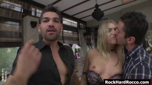 Russian blonde sucks n analed two cocks