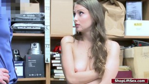 Brunette chick sucks cock for stealing