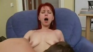 Experienced Red-haired mom fingered, licked and fucked by her son