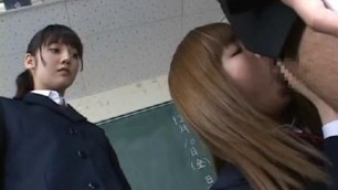 School Girls learn to masturbate a man